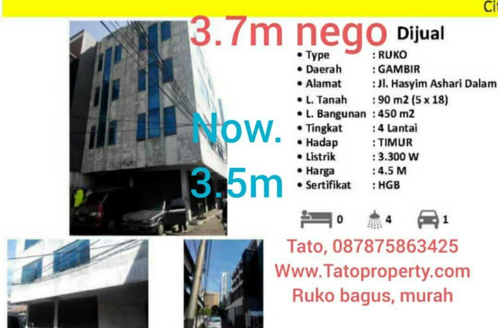 Jual Ruko 3.5m Jakarta Pusat murah bisa KPR 087875863425