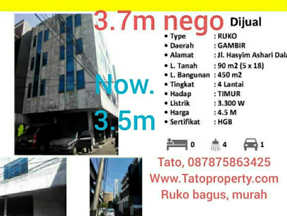 Jual Ruko 3.5m Jakarta Pusat murah HGB 3 lantai 087875863425