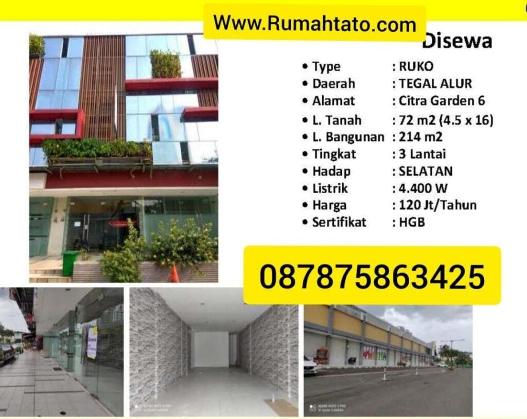 Sewa Ruko Citra 6 Kalideres Jakarta Barat Tato 087875863425